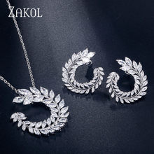ZAKOL Fashion Zircon Stone Leaf Wedding Jewelry Sets For Women Party Gift Crystal Earrings Necklace Set Wholesale FSSP260(China)