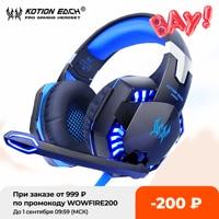 KOTION EACH-auriculares para videojuegos estéreo de graves profundos, con cable, micrófono retroiluminado para PS4, teléfono, PC y portátil