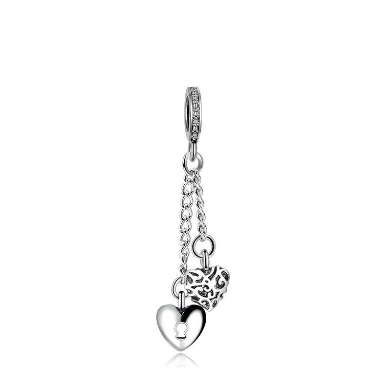 Новинка, сплав, бисерная подвеска в виде сердца для семьи, мамы, папы, любви, подходит для Пандоры, браслет, ожерелье, сделай сам, Женские Ювелирные изделия - Цвет: Regal Love Lock