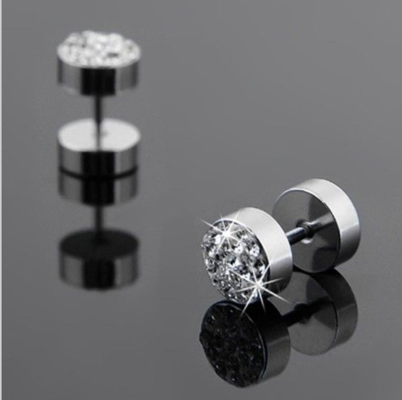 earrings man Barbell dumbbell titanium steel stainless steel earrings studded earrings 2018 punk earings fashion jewelry in Stud Earrings from Jewelry Accessories