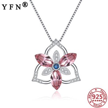 YFN 925 Sterling Silver Crystal Necklace Crystal Zircon Pendant Necklace Mother's Day Gift Mom's Gift 925 Silver Woman's Jewelry