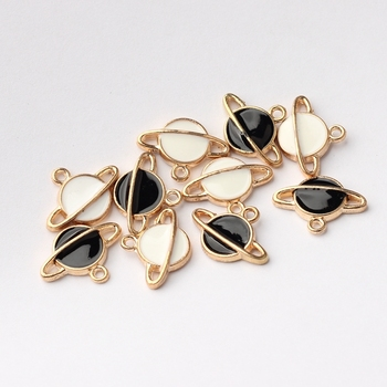20 sztuk/partia stopu cynku Mini emalia Charms planeta Charms dla DIY biżuteria kolczyki Making akcesoria