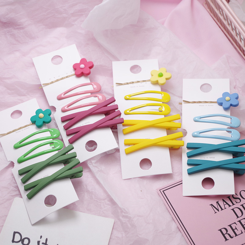 5PCS/LOT Cute Girls Hair Pins And Clips Set Baby Kids Flower Barrette Hairgrips Candy Colors Child Headwear Hair Accessories