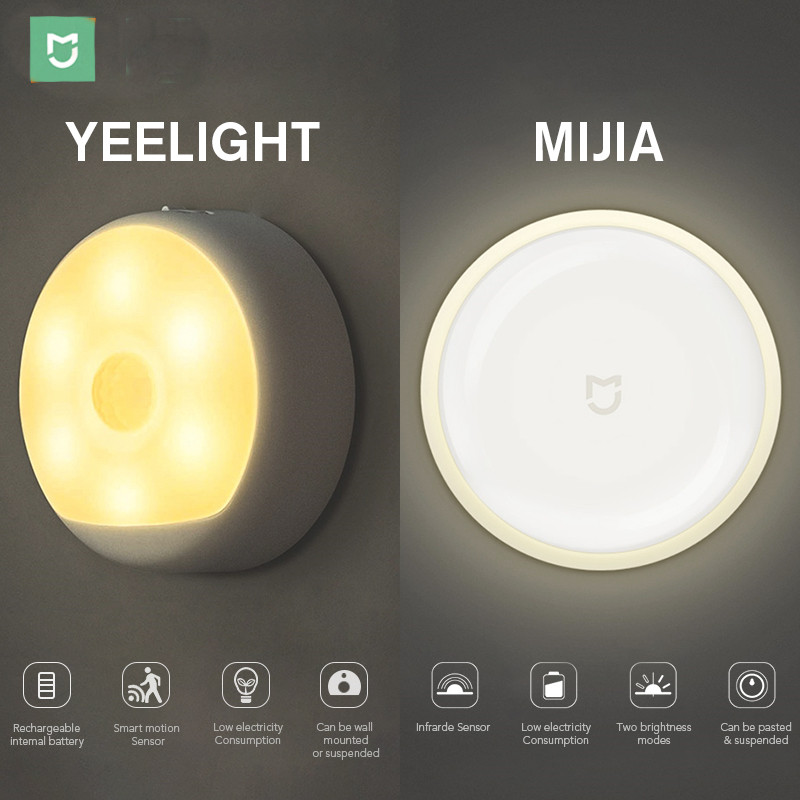 Mijia LED Corridor Night Light Lamp Infrared Remote Control Body Motion Sensor Smart Home | Option USB Charge Version