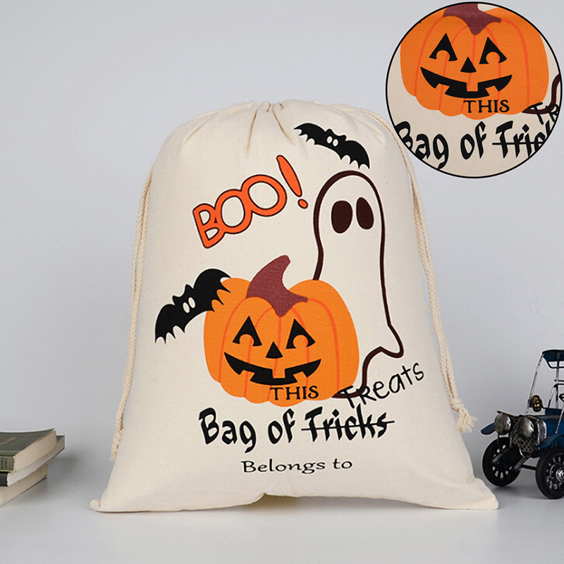 1pc Cotton Canvas Halloween Bags Trick Treat Bags Pumpkin Spider Web Decoration Sack For Kids Present