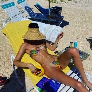 K Jenner Bikini lato pływać kobiety stroje kąpielowe z nadrukiem bikini zestaw brazylijski bikini zestaw kobiet strój kąpielowy garnitury