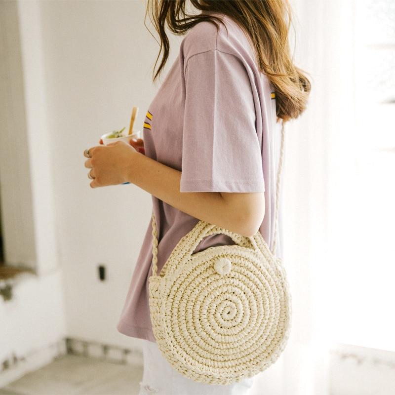 [BXX] Handmade Woven Round Handbag 2020 Spring Summer Vintage Straw Rope Knitted Messenger Bag Lady Bag Summer Beach Totes HK808 1