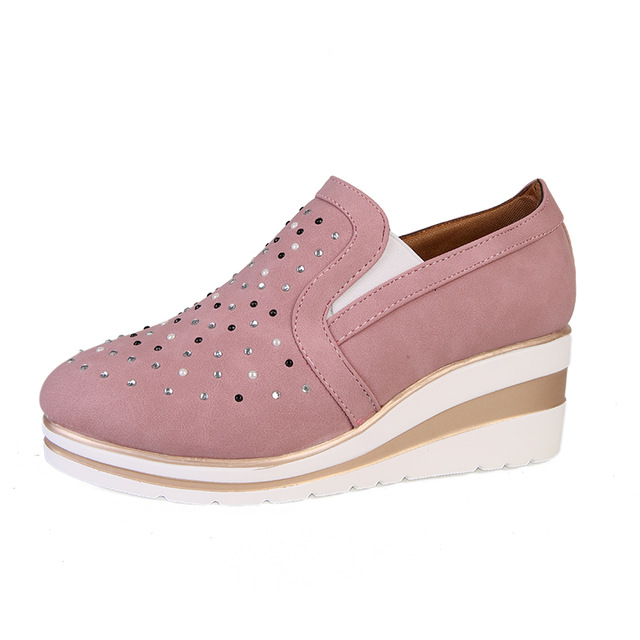 Women Ankle Boots Wedges Vulcanized Platform Autumn Female High Heel Height Increasing Shoes Ladies Fashion Casual Plus Size