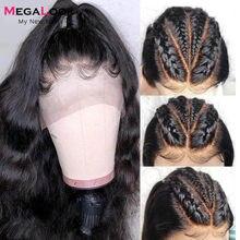 Onda do corpo do laço hd peruca dianteira do laço peruca de cabelo humano perucas brasileiras 13x4 frontal do laço pré arrancado frente do laço cabelo megalook remy