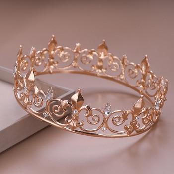 AiliBride Gold Round Crown King Queen Wedding Tiara Bride Headpiece Men Party Crystal Hair Jewelry Wedding Hair Accessories