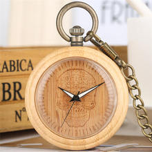 Natural Bamboo Skull Pocket Watch Quartz Analog Wooden Pendant Watches Chain Luminous Handsl fob Clock montre a gousset chaine