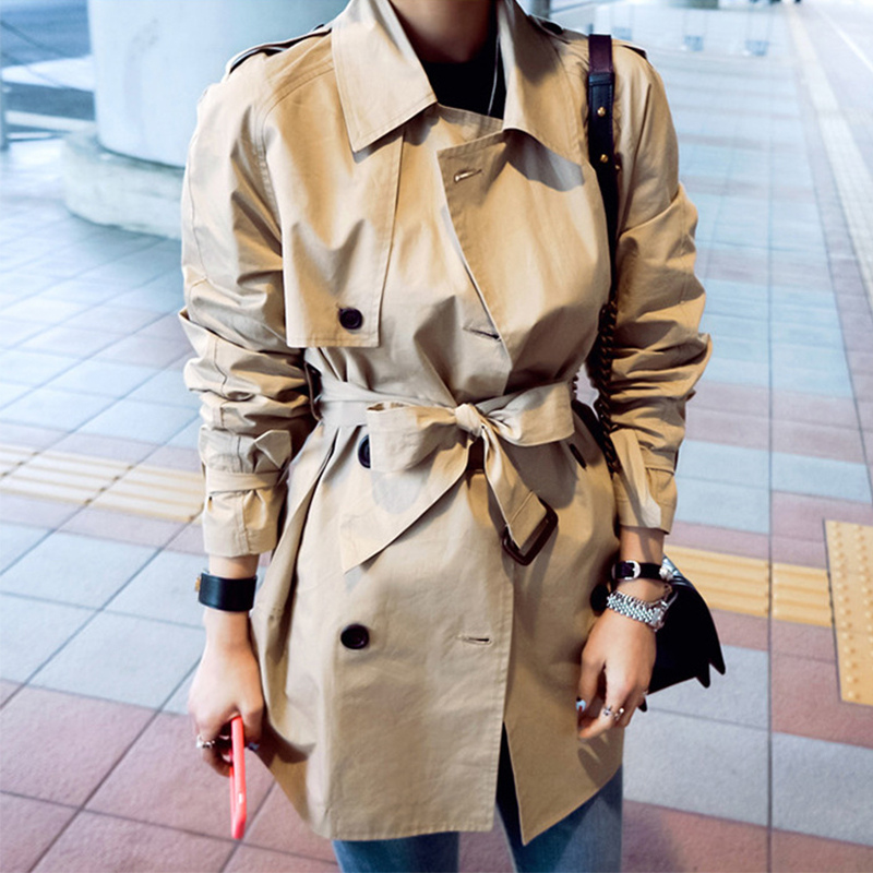 Fashion women solid loose comfortable trench new arrival autumn winter korean double breasted temperamental cute outerwear coat