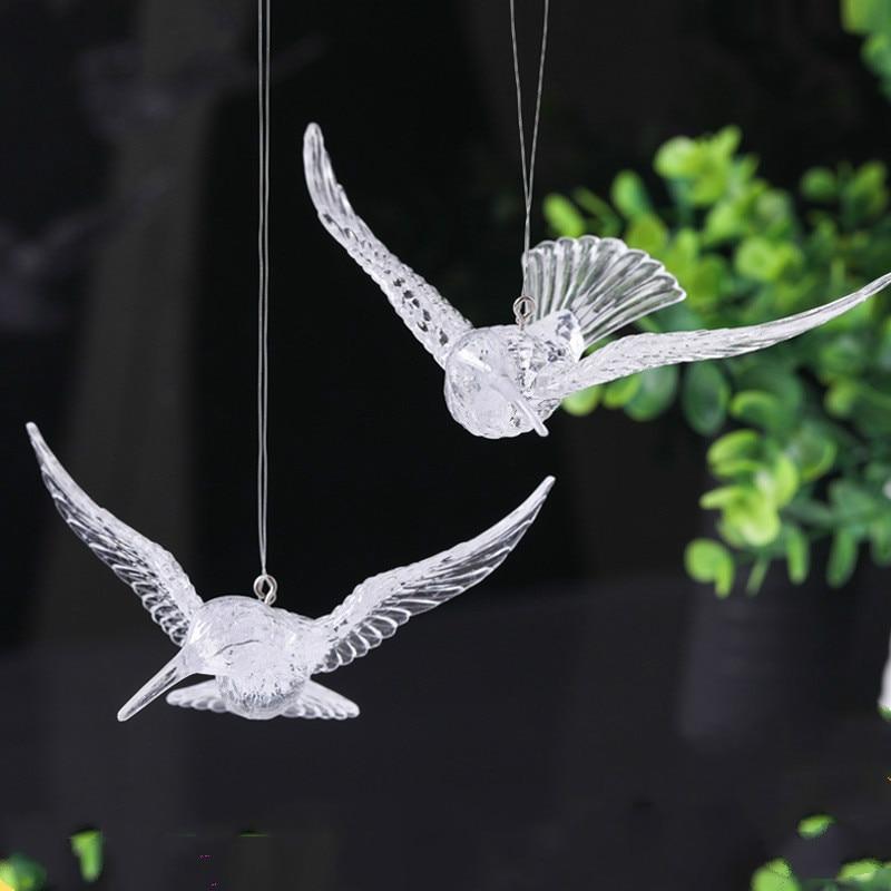 wedding : 12 PC High Quality European Crystal Acrylic Bird Hummingbird Ceiling Antenna Home Wedding Stage Decoration Ornaments