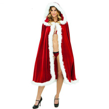 2019 Christmas Womens Poncho Cape Fleece Hooded Solid Christmas Costume Santa Claus Hooded Cape Coat  Cashmere Poncho Fur