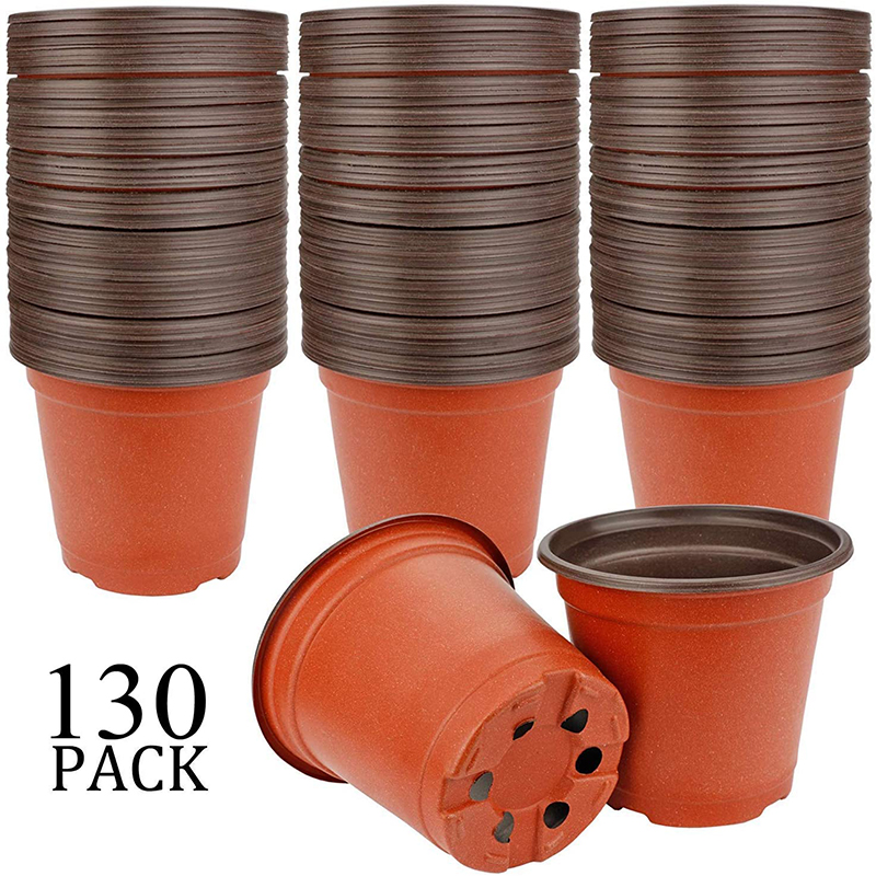 130 Pcs 10cm Plastic Plants Nursery Seed Starting Pots for Succulents Seedlings Cuttings Transplanting Home Garden Flower Decor 1