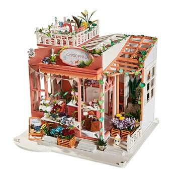 DIY Dollhouse Kit 3D Assembled Loft Handmade House with Music Movement Mini Cabin for Christmas Birthday Valentine's Day Gift