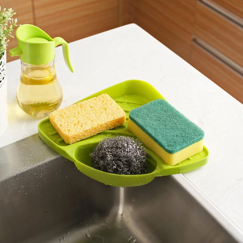 Modern Design Home Kitchen Sink Corner Storage Rack Solid Color Sponge Drainboard Bathroom Holder Organizer Accessories