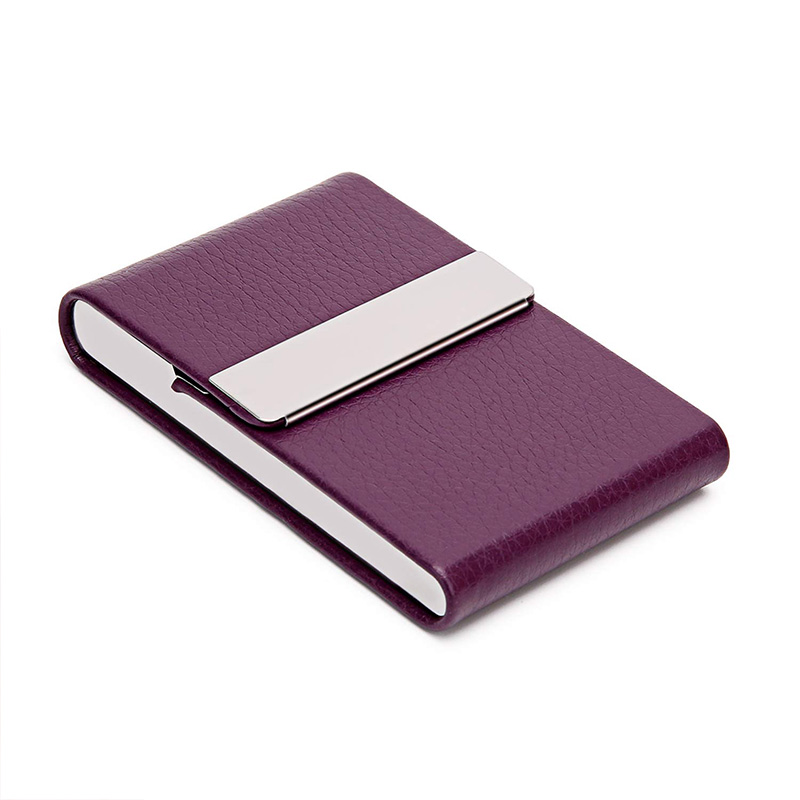 PU Business Card Holder For Women Men Business Card Case Slim Professional Name Card Holder With Magnetic Shut