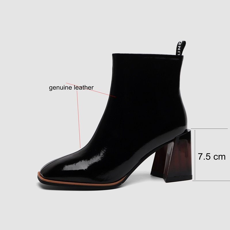 ZVQ Genuine Leather women's Shoes 2021 Winter Autumn Office Blue Black Ankle Boots 34-40 Size Square Toe 6cm High Heels Booties