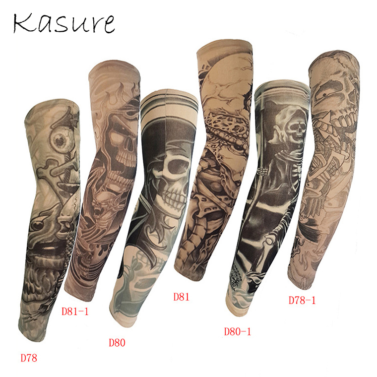 Kasure 1pc Printed Fake Tattoo Arm Sleeves Unisex Arm UV Protection Outdoor Cycling Hip Hop Punk Slip On Tattoo Sunscreen Cuff