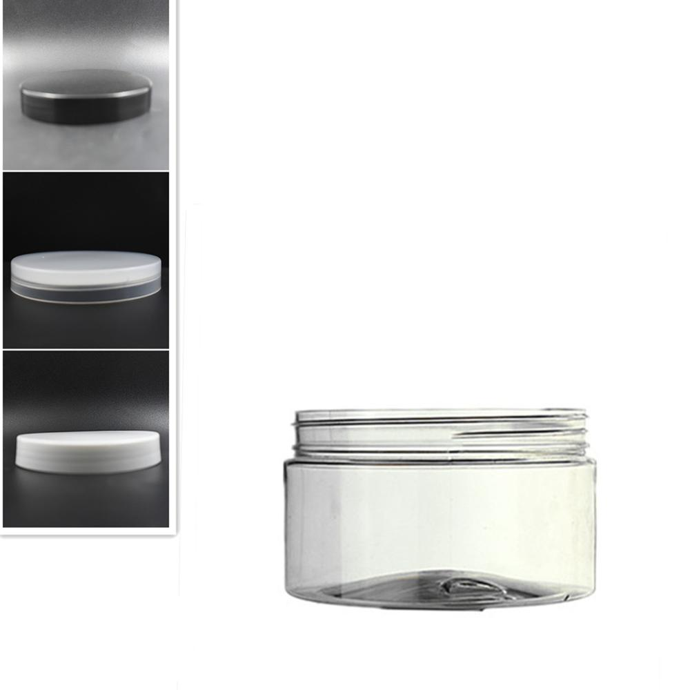 250ml Clear Round Pet Jar Bottle Container With White/black Plastic Cap Lids For Cosmetic,food, Packaging,