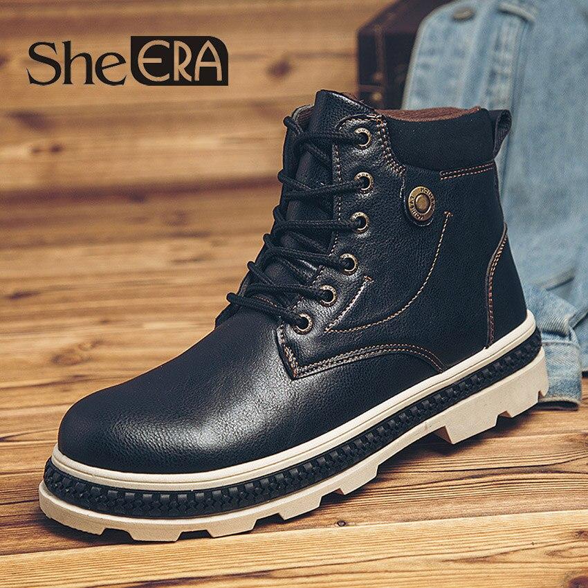 Ela ERA Outono Inverno Nova Martin Botas Ao Ar Livre Botas De Couro Sapatos de Ferramentas Não-slip Botas de Ferramentas dos homens À Prova D' Água sapatos