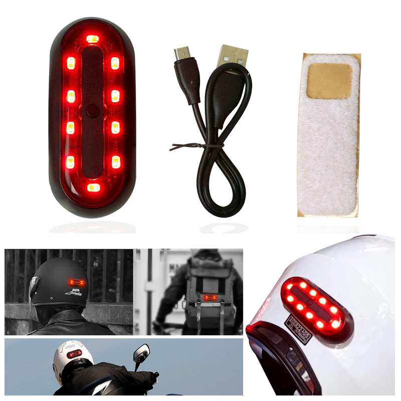 Motorcycle Helmet Cycle Bike Helmet Night Safety Signal Warning Light LED Light Rear Tail Lamp Taillight Rechargeable Waterproof