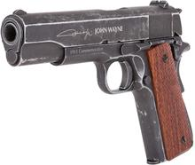A pistola bb do co2 do metal de john wayne 1911, brown aperta a placa de parede do signmetal da lata da pistola do ar