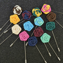 New Lapel multiple colors Flower Handmade Boutonniere Stick Brooch Pin Men Solid Rose Flower Brooch Lapel Pin Wedding small daisy shaped corsage multiple colors handmade boutonniere stick brooch pin men brooch lapel pin for wedding party