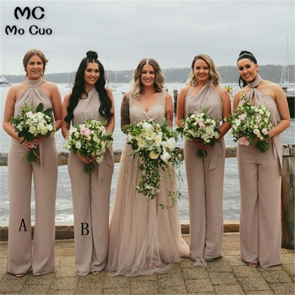 Elegant Jumpsuit   Bridesmaid     Dresses   Long with AB Wedding Party   Dress   Elastic Satin Pleat Elasic Satin   Bridesmaid     Dress