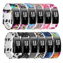 Pulseira de silicone para fitbit inspire hr, correia de substituição estampada para fitbit inspire smart watch