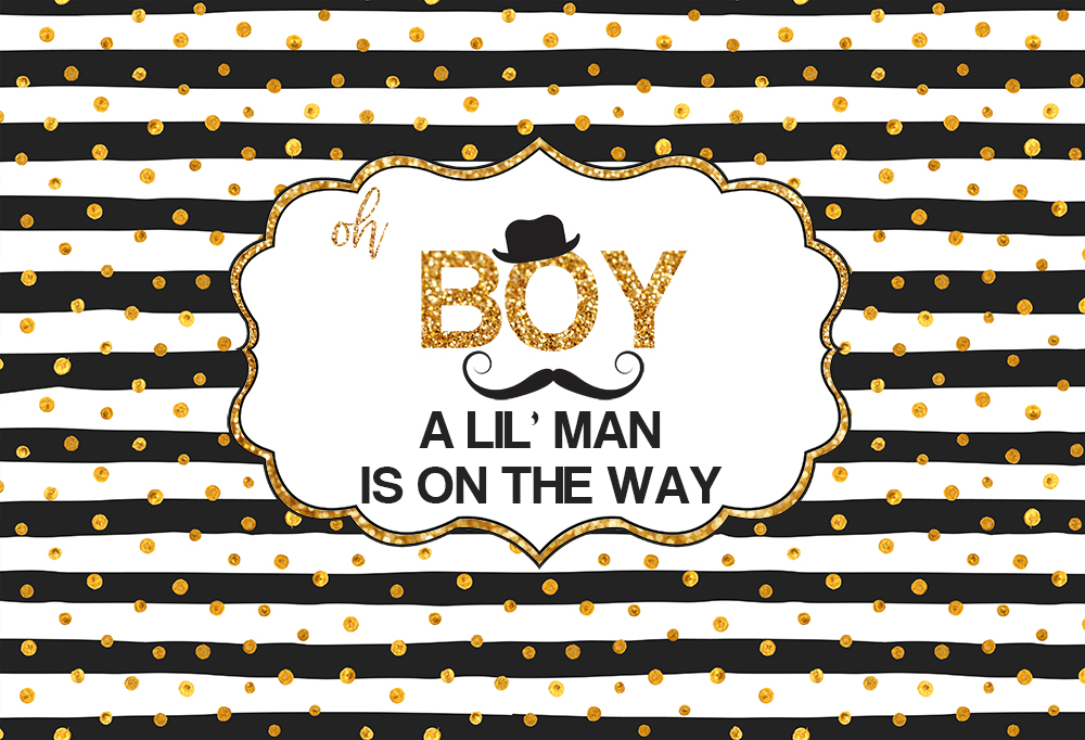 A Little <font><b>Boy</b></font> <font><b>Baby</b></font> <font><b>shower</b></font> <font><b>Backdrop</b></font> black and White Stripes Golden Dots photography background candy Table party decor photo B-395 image