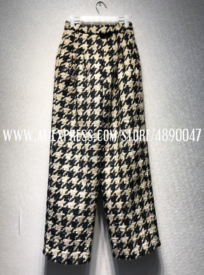 Осень-зима 219, черные, коричневые повседневные брюки в клетку, брюки с высокой талией, толстые твидовые модные женские брюки - Цвет: Цвет: желтый