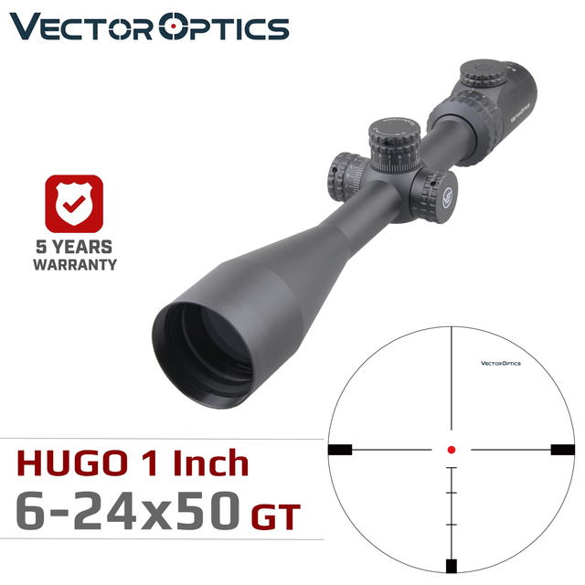 Vector Optics Hugo 6 24x50 GT 1 Inch Riflescope Hunting Rifle Scopes Min 10Y Illuminated Turret Lock Side Focus .223 .308win
