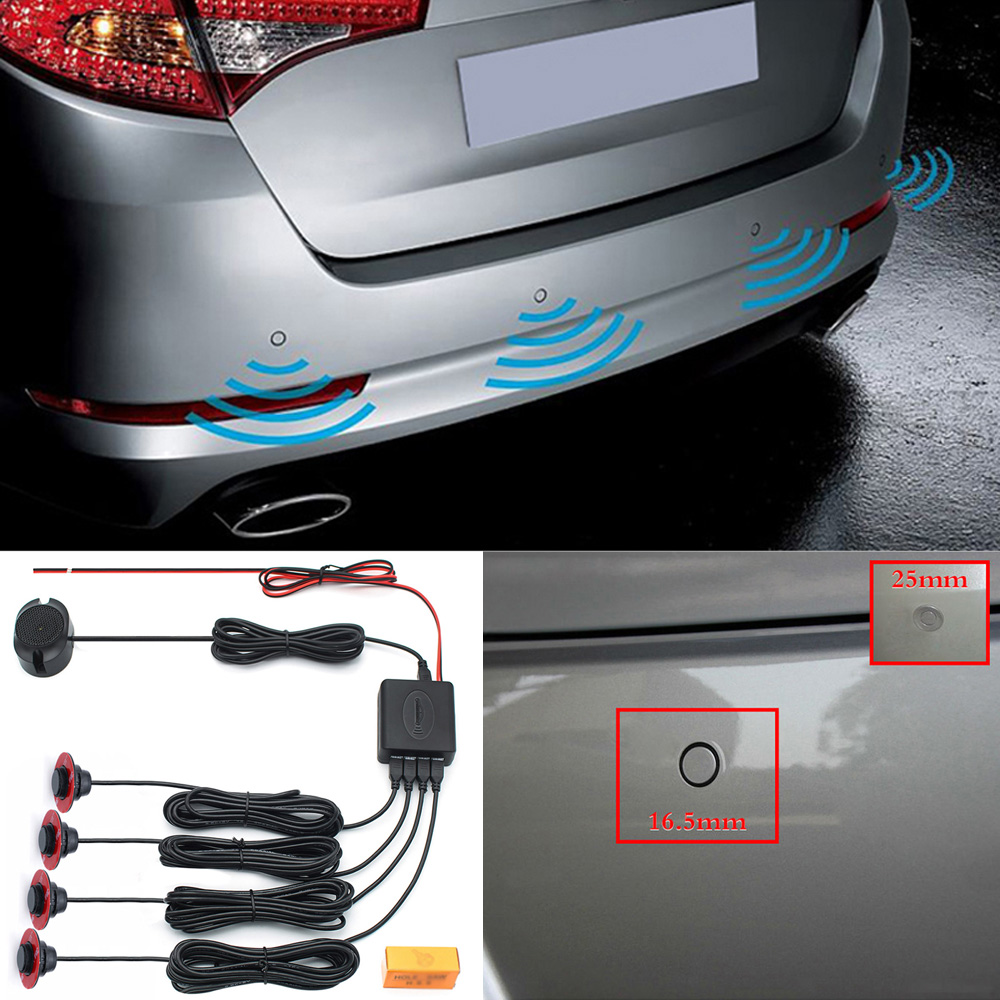 Main Control Box Inspection 0-2.5m Adjustable Flat Panel Car Parking Sensor Reverse Backup System Set Bi Bi Bi Alarm Sound