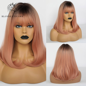Blonde Unicorn Synthetic Straight Wigs for White Black Women Dark Root Ombre Pink Grey Bobo Wigs with Bangs Lolita Cosplay Wig