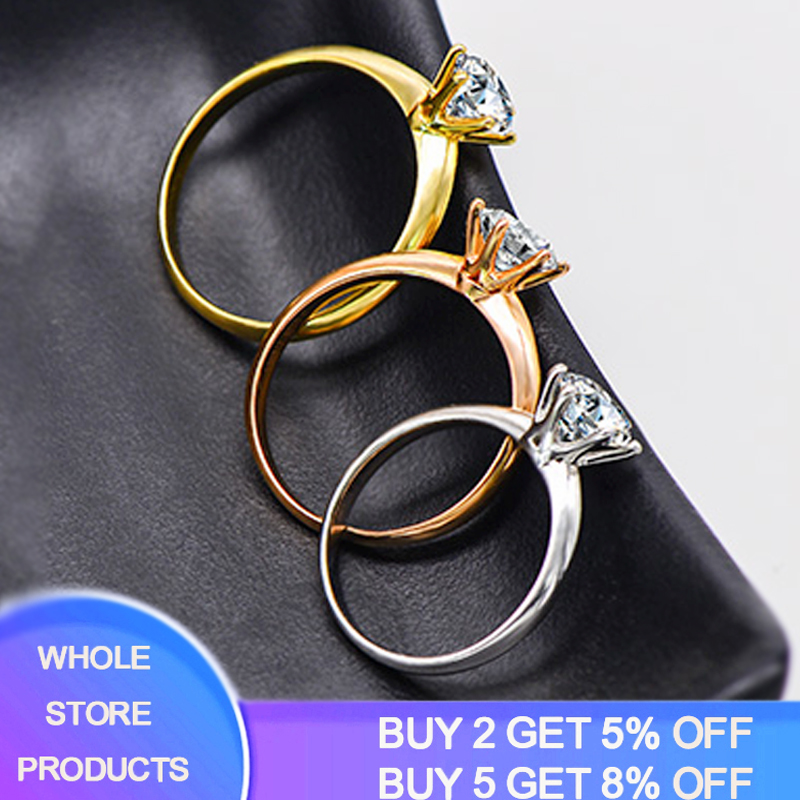 YANHUI Have 18K RGP Stamp Pure Solid White/Yellow/Rose Gold Ring Solitaire 2.0ct Lab Diamond Engagement Wedding Rings For Women