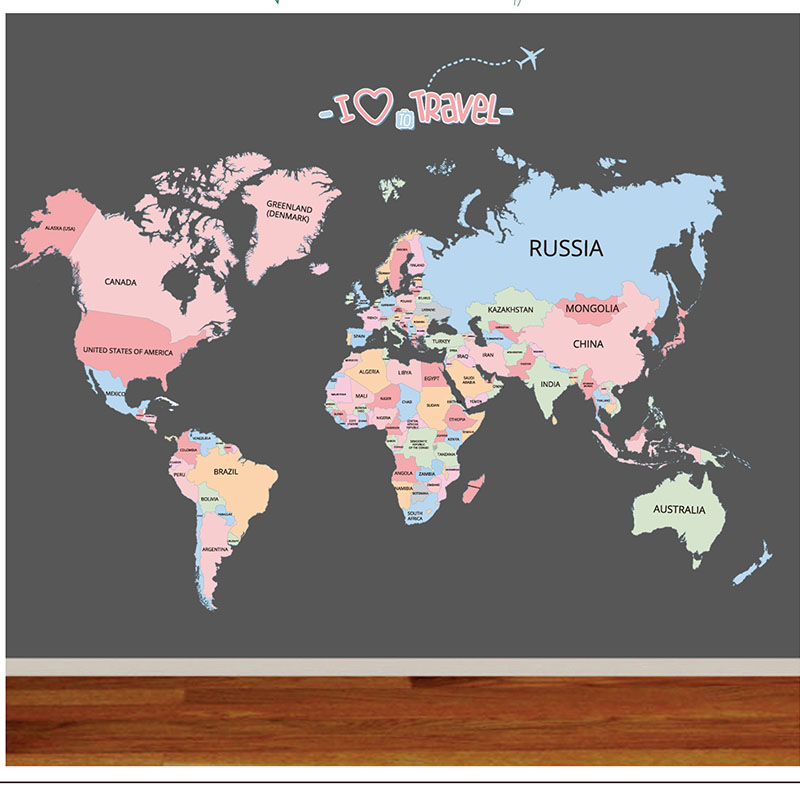 World Map Wall Decal Educational Decor Sticker Sticker Educational World Map For Kids English Letter Bedroom Map Of The World