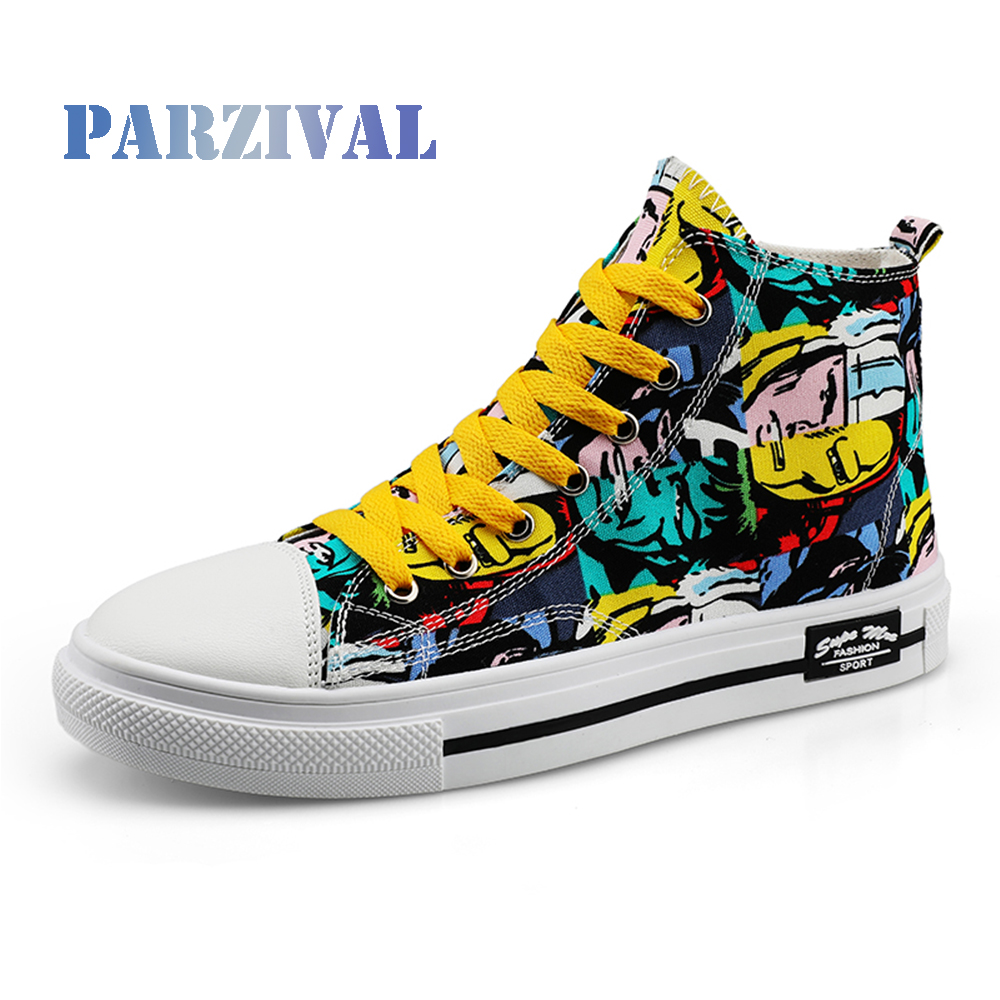 PARZIVAL Fashion Sneakers For Men Women Classic Graffiti Lace up High top Autumn Canvas Shoes Flat With Camouflage Casual Shoes