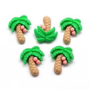 50/100 Uds lindo árbol de coco de resina Flatback cabujones miniatura arte DIY Clip de pelo Decoración