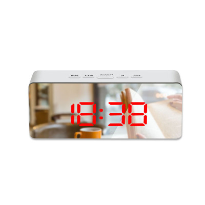 LED Mirror Alarm Clock Digital Snooze Table Clock Wake Up Light Electronic Large Time Temperature Display Home Decoration Clock 14