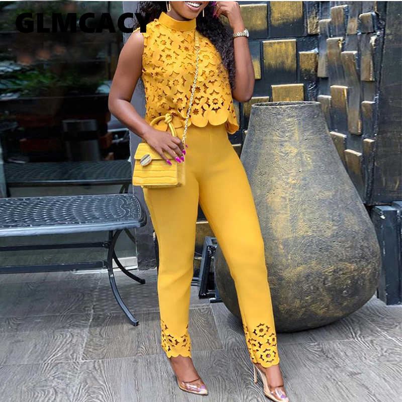 Women Streetwear Turtleneck Lace Hollow Out Top & Pants Set Autumn Elegant Solid Short Top and Ankle-length Pant Two Pieces