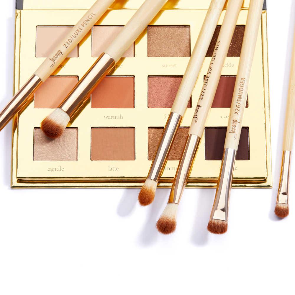 Jessup bambou 6 pièces fard à paupières brosse ensemble brosse maquillage brosse nettoyant éponge et 12 couleurs fard à paupières Palette et boîte cadeau emballage