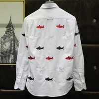 2020 Fashion Spring New Long Sleeve Mens Shark Printed Casual Shirts Office Party Man Tops Tees Cotton Breathable Solid Shirt