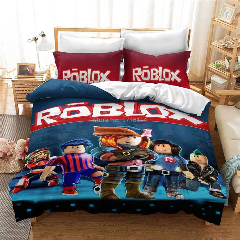 Cartoon Queen King Size Beddengoed Set Mode Diy Roblox 3D Game Dekbedovertrek Trooster Cover Set Comfortabele Beddengoed Beddengoed