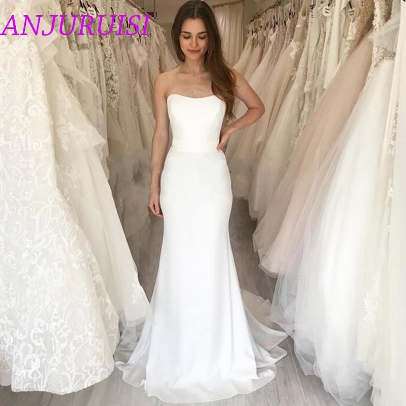 ANJURUISI Strapless Chiffon Mermaid Wedding Dresses Simple Sleeveless Bridal Gowns Backless Long Wedding Gowns Vestido De Noiva