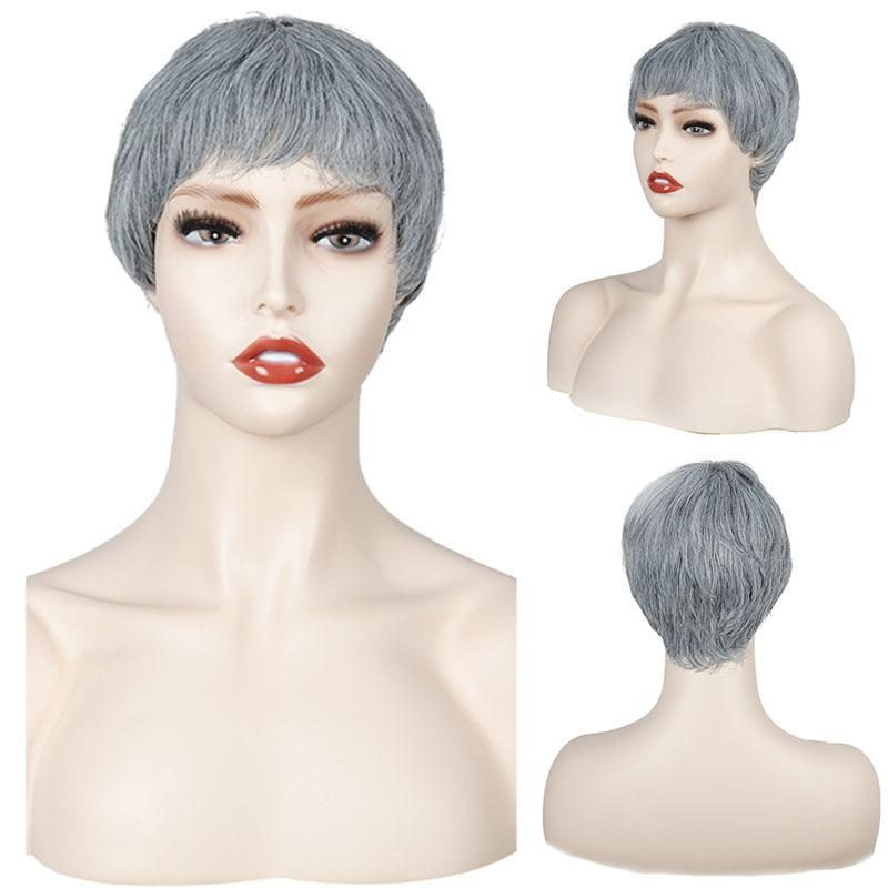 Купить короткий парик синтетические парики с боковой челкой омбре темными