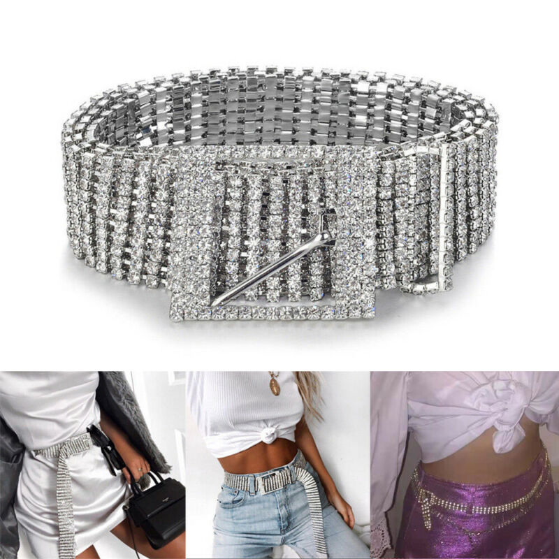 New Arrival 1 PCS Women Silver Crystal Metal Metal Waist Metallic Belt Waistband Slim Dress Flash Diamond Belt