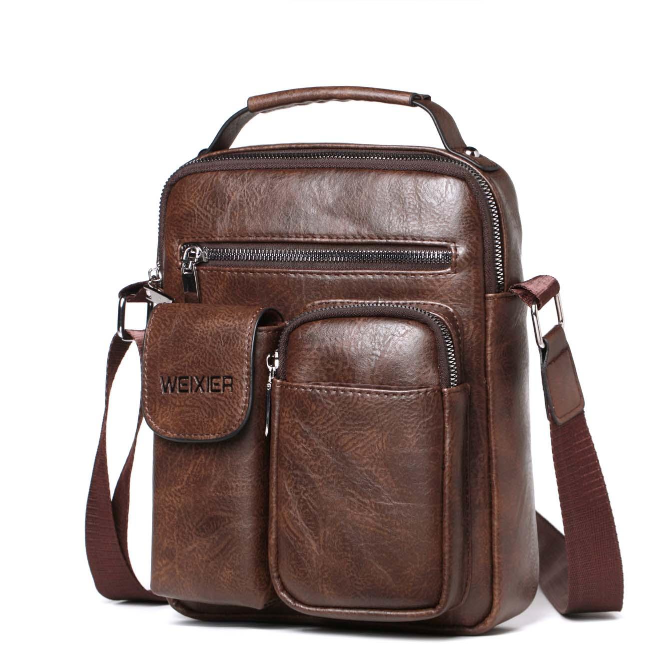 Fashion Men Shoulder Bag PU Leather Handbag Large Capacity Crossbody Bags Business Zipper Multifunctional Messenger Bag 8 Pocket