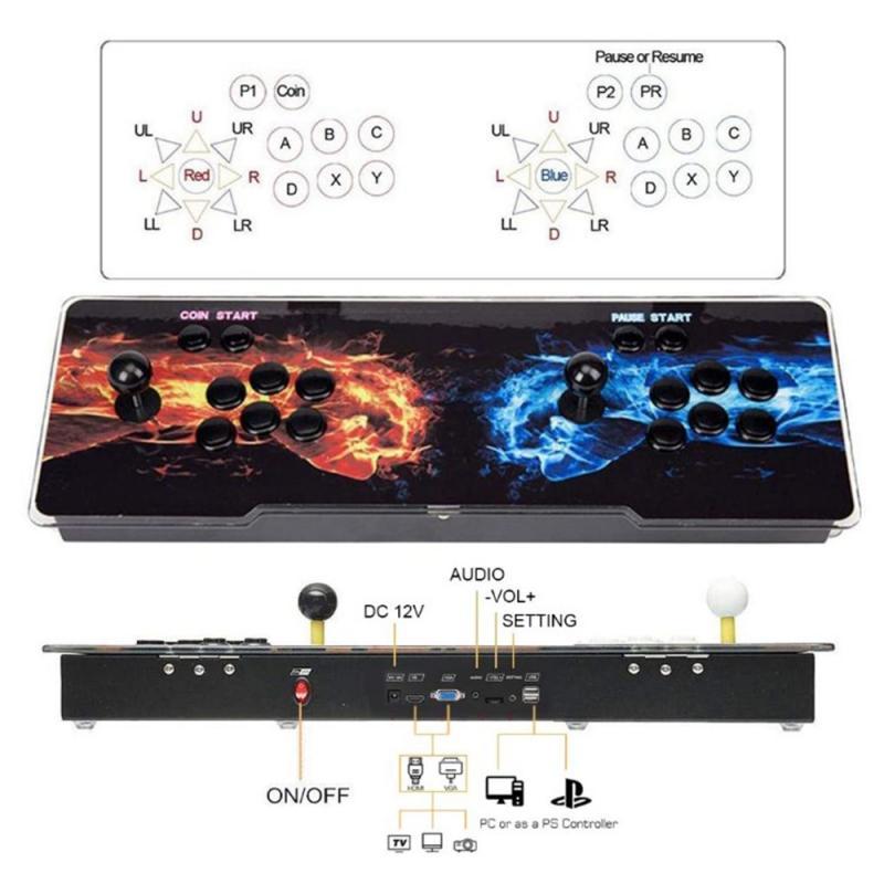 3188 1099 1314 Arcade Console Usb Joystick Arcade Knop 2 Spelers Controle Retro 3D Arcade Game